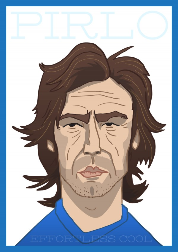 andrea pirlo illustration 600x848 Andrea Pirlo: Effortless Cool [ILLUSTRATION]