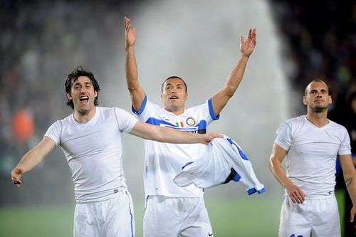 Inter Milan Player Celebrations Inter Milan Completes The Italian Job on Barcelona in the Champions League