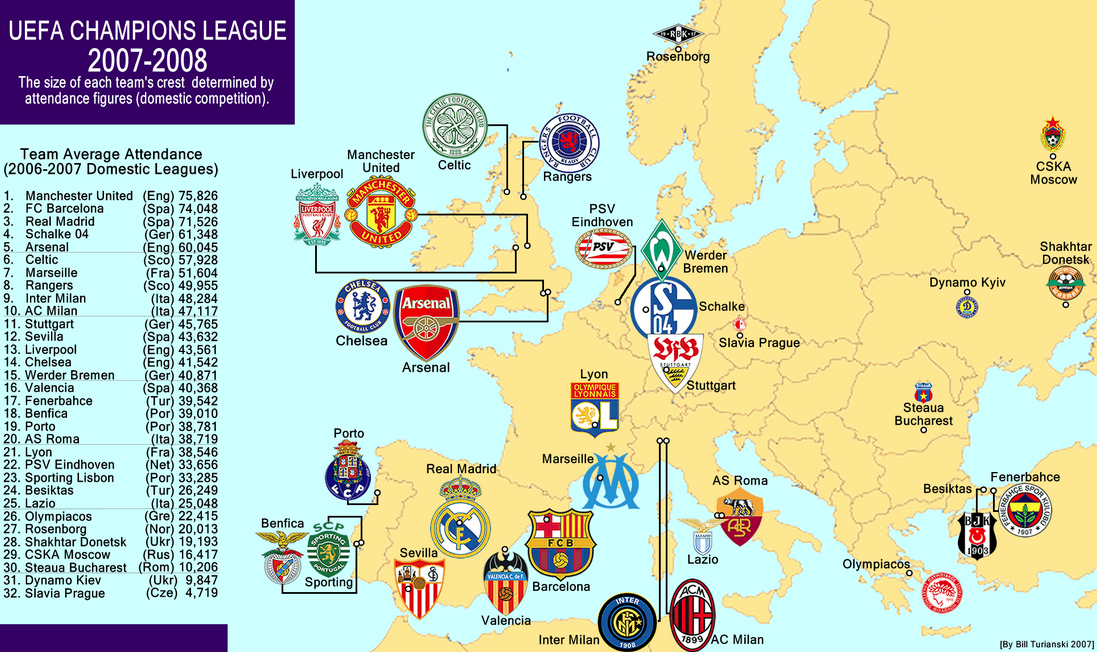 Champions League Map - World Soccer Talk