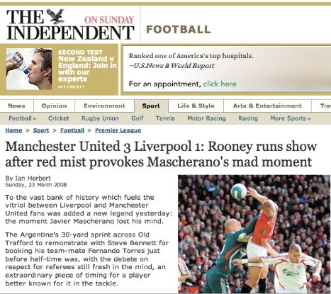independent The Independent Newspaper Scores One for Liverpool