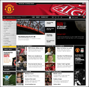 Man United web site