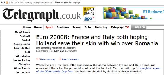 euro 20008 The Daily Telegraph Goes Back To The Future