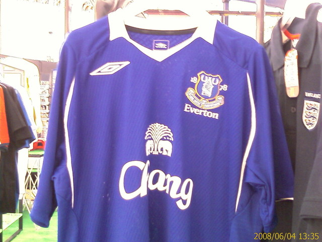 everton home New 08/09 Everton Home & Away Shirts: Photographs