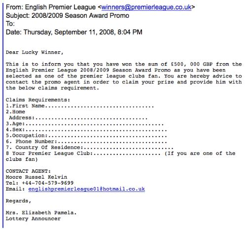 premier league phishing screenshot Phishers Turn Their Attention To Premier League