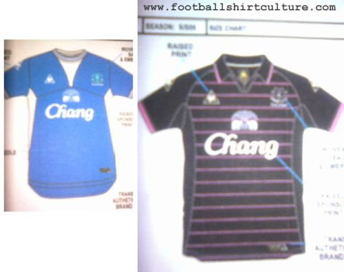 everton le coq sportif 09 10 kits New 09/10 Everton Home & Away Shirts Revealed