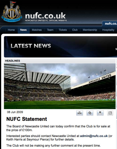 newcastle united for sale sign Premier League Bubble Is About To Burst