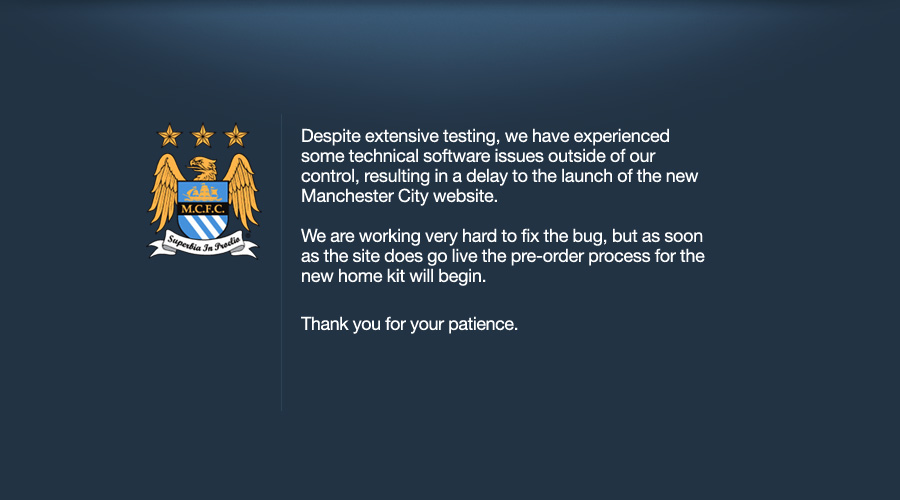 manchester city website error message Manchester City Experiences Technical Difficulties