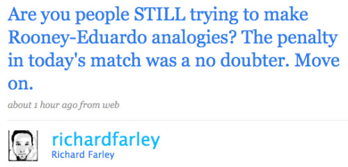 richardfarley twitter Man United 2 1 Arsenal: Did Wayne Rooney Dive?