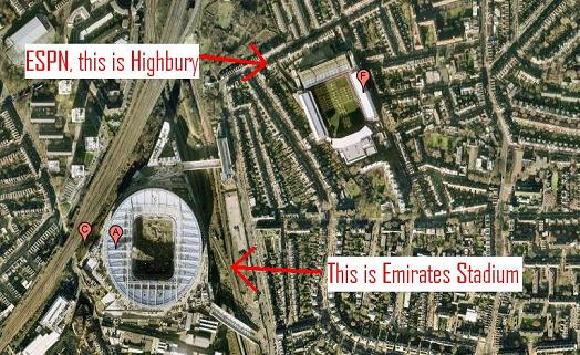 espn arsenal stadium gaffe ESPN Doesnt Know The Difference Between Emirates and Highbury