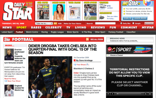 daily star snafu chelsea The Daily Star Claims That Chelsea, Not Blackburn Won Carling Cup Match