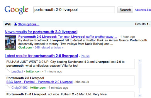 google twitter1 Are Google Real Time Results a Boon or Bane for Soccer Fans?