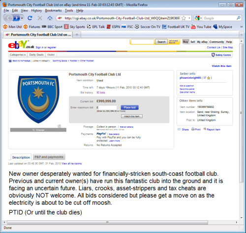 portsmouth for sale on ebay Portsmouth Football Club Now For Sale On eBay
