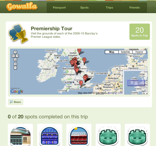 gowalla premiership tour Why Soccer Fans Should Use Foursquare, Gowalla and Miso