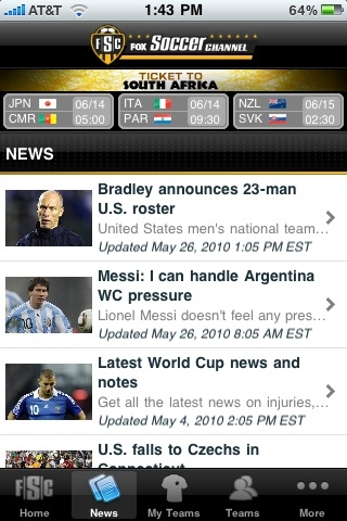FoxSoccer iPhone App 2 EPL Talk Product Review: Fox Soccer iPhone App