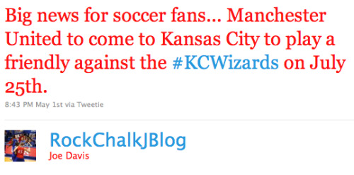 manunited twitter kansas city Manchester United to Play Friendly in Kansas City