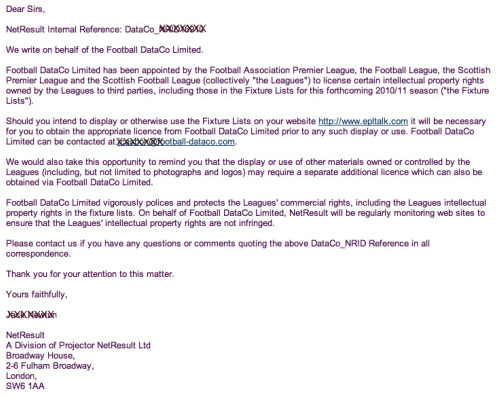 football dataco limited letter thumbnail 2010 11 Premier League Opening Day Fixtures Fiasco