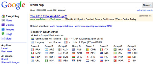 google world cup top Google Enhances Search Engine Results For World Cup