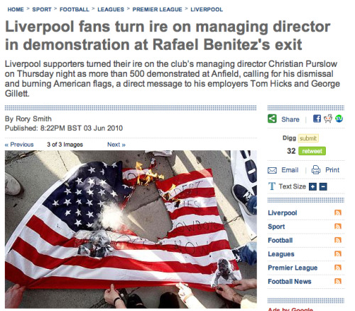 telegraph liverpool story Liverpool Fans Burn American Flag In Protest Against Owners