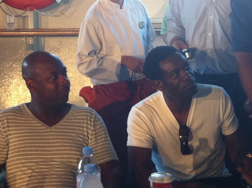 michael thomas and robbie earle Soccer and NFL Stars Unite To Celebrate Super Bowl At Sea With ESPN Caribbean