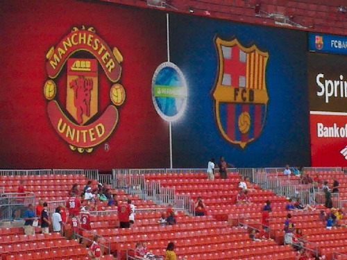man united barcelona scoreboard11 Manchester United 2011 US Tour: In Pictures