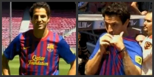 cesc fabregas barcelona unveiling1 Wenger Needs to Use Fabregas Money to Spend Aggressively in Transfer Market