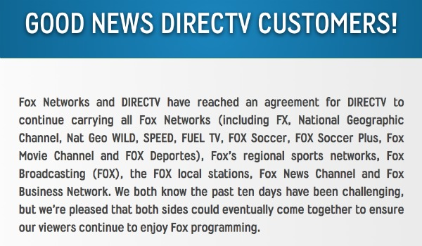 directv fox DirecTV Reaches Agreement To Continue Carrying FOX Soccer and FOX Soccer Plus