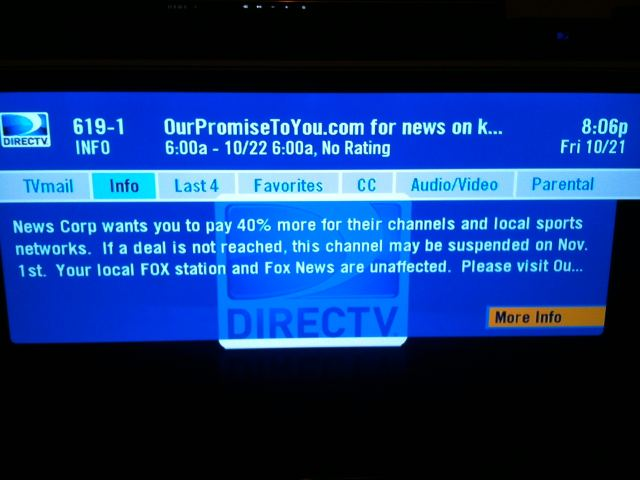DirecTV Threatens to Remove FOX Soccer From Its Programming