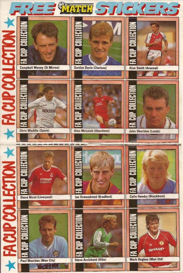 fa cup collection stickers match regular FA Cup Footballers From 1988 89 Featured In Match Magazine: Photo