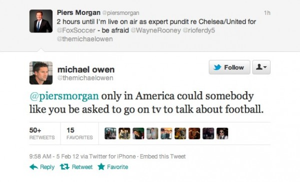 michael owen piers morgan tweet 600x365 Chelsea vs Manchester United, Super Bowl Sunday Edition: Open Thread