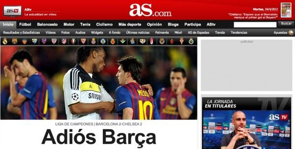ASdotcom cover tiff 600x304 European Press Reaction to Chelseas Brave Victory Against Barcelona [PHOTOS]