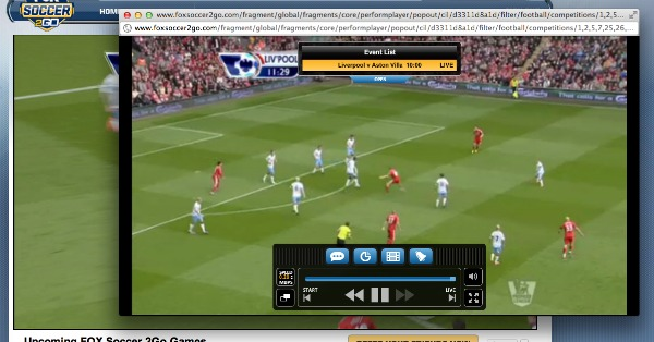 FOX Soccer 2Go Pop Out Player FOX Soccer 2Go: The Definitive Guide to FOX Soccers Web and Mobile Apps