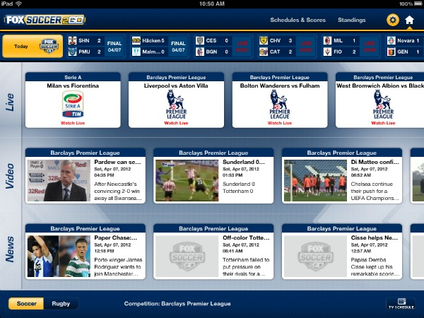 FOX Soccer 2Go iPad App Main Screen FOX Soccer 2Go: The Definitive Guide to FOX Soccers Web and Mobile Apps