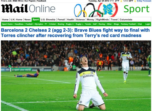 daily mail cover tiff 600x438 European Press Reaction to Chelseas Brave Victory Against Barcelona [PHOTOS]