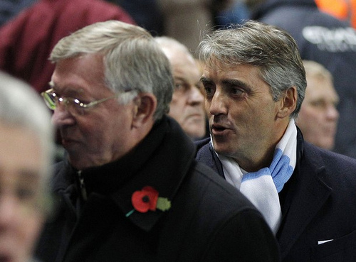 mancini ferguson Roberto Mancini and Alex Ferguson Square Off Against Each Other [VIDEO]
