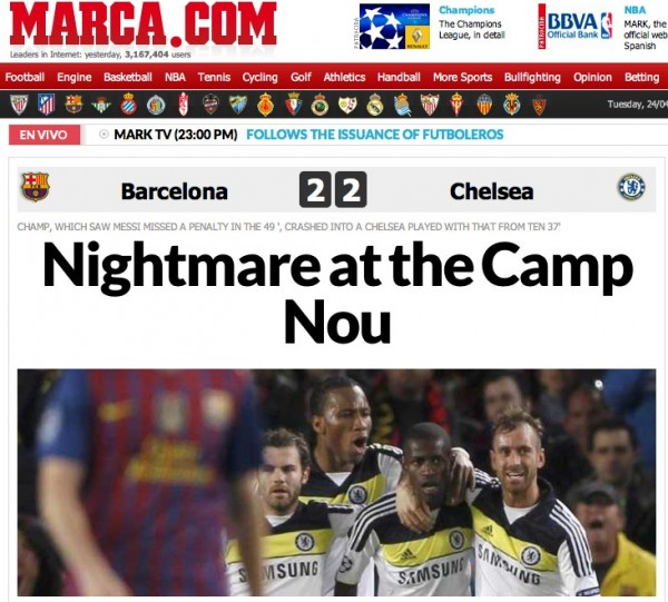 marca cover tiff 600x541 European Press Reaction to Chelseas Brave Victory Against Barcelona [PHOTOS]