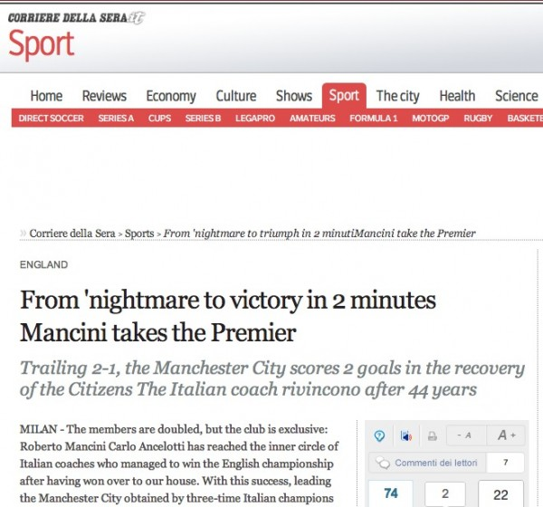 corriere della sera tiff 600x560 Worldwide Press Reaction to Manchester City Winning Premier League [PHOTOS]