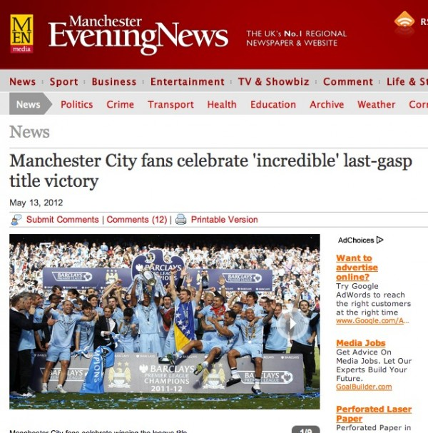 manchester evening news tiff 600x607 Worldwide Press Reaction to Manchester City Winning Premier League [PHOTOS]