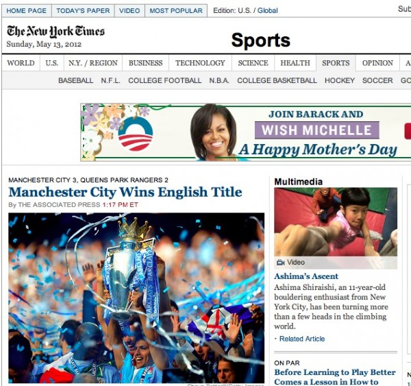new york times cover tiff 600x563 Worldwide Press Reaction to Manchester City Winning Premier League [PHOTOS]