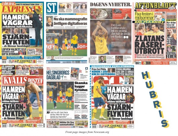 Sweden football hubris newspaper frontpage England victory 600x458 Swedish Newspapers Hubris in Predicting Big Swedish Win Over England