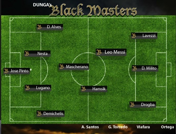 dungas black masters tiff 600x460 Team Lineups for World Soccer Masters Featuring Drogba, Messi, Dempsey and Suarez