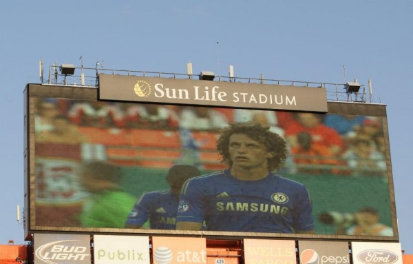 david luiz closeup 600x383 Chelsea vs AC Milan Friendly In Miami, In Pictures [PHOTO]