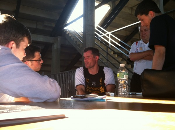 jamie carragher two 600x448 Liverpool Footballers Meet The Media At Harvard University [PHOTO]