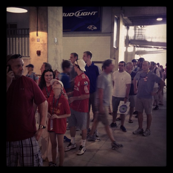 lfc fans in long line 600x600 Liverpool vs Tottenham Hotspur Friendly In Baltimore, In Pictures [PHOTO]