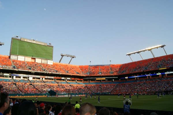 stadium shot in game 600x401 Chelsea vs AC Milan Friendly In Miami, In Pictures [PHOTO]