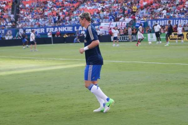 torres warmup 600x401 Chelsea vs AC Milan Friendly In Miami, In Pictures [PHOTO]