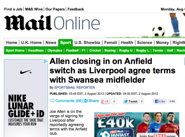 joe allen agrees terms with liverpool 600x446 The Dirty Underbelly of British Tabloids And Their Football Transfer Gossip