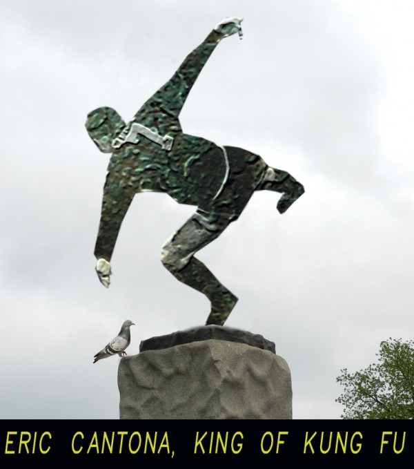5 Eric Cantona Statue 600x679 6 Statues Celebrate Most Infamous Moments in English Football [PHOTOS]