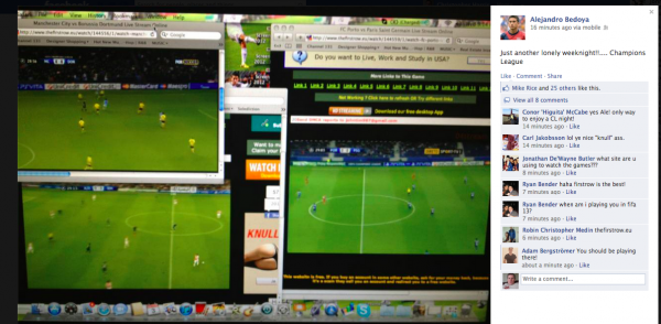 bedoya facebook 600x294 What Hope Is There To End Pirated Soccer Streams When Even Soccer Players Are Watching Them?