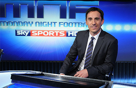 gary neville sky Gary Neville and Jamie Carragher Analyze Why Arsenal Lost and How RVP Is So Hard to Defend Against [VIDEO]