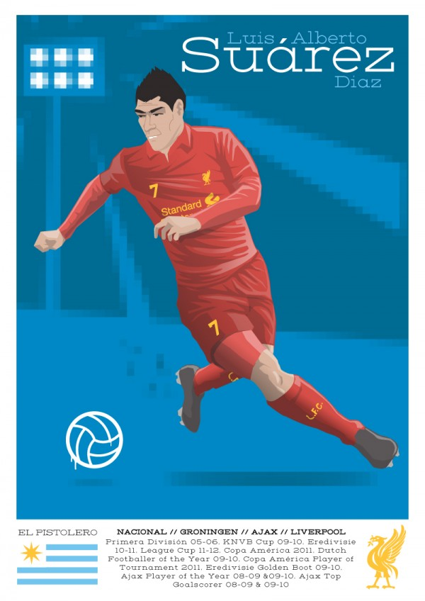 luis suarez illustration 600x848 Brilliant Illustration of Liverpool Striker Luis Suarez [PHOTO]